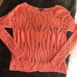 Coral crochet sweater NEVER WORN